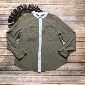 Soft Surroundings Button Silk Shirt Size Medium